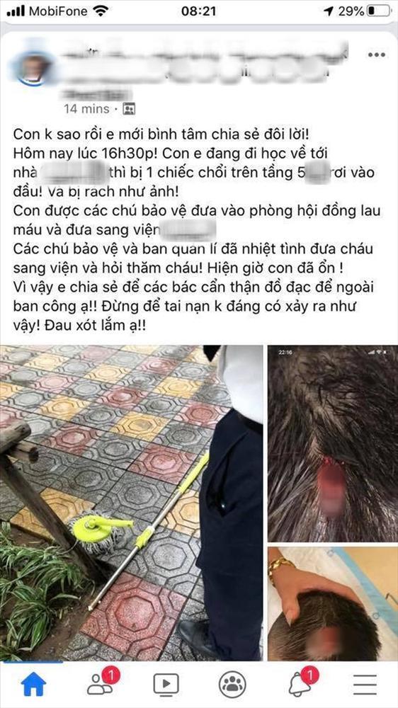 Hà Nội: Chổi lau nhà rơi từ tầng 5 chung cư cao cấp khiến bé trai vỡ đầu phải nhập viện-1