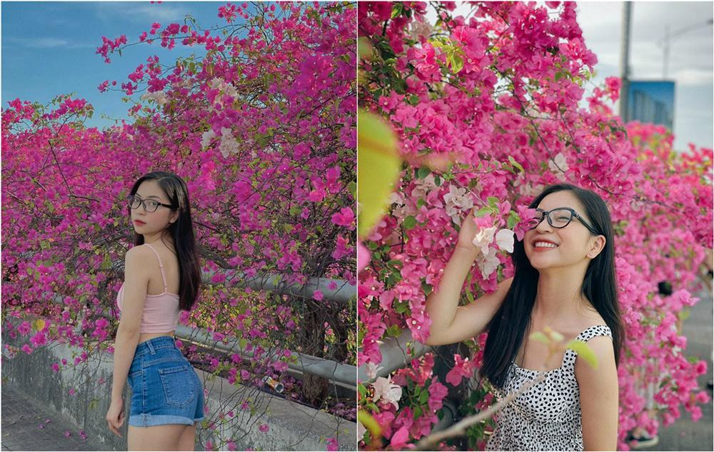 Bạn gái cũ Quang Hải tạo dáng xinh đẹp trên con đường hoa giấy nổi khắp mạng xã hội-1