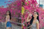 Bạn gái cũ Quang Hải tạo dáng xinh đẹp trên con đường hoa giấy nổi khắp mạng xã hội