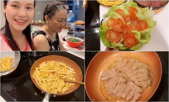 Bà bầu Hoàng Oanh khoe mẹ ruột nấu ăn ngon hết nấc, sợ con gái đụng đâu hỏng đấy-1