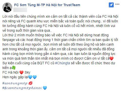 2 FC lớn của Sơn Tùng M-TP thông báo dừng hoạt động, thần tượng bị quay lưng?-2