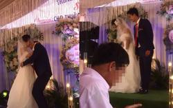 Bị chú rể ghì chặt hôn ngấu nghiến trước mặt quan khách, phản ứng của cô dâu gây bất ngờ