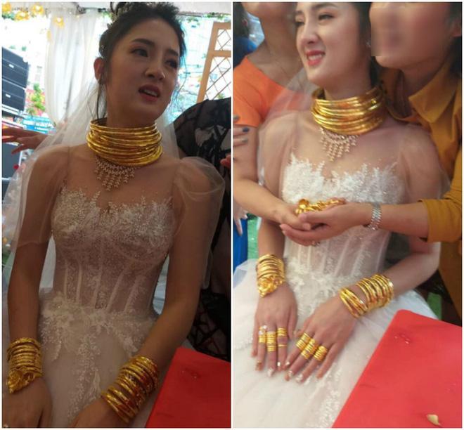 Cô dâu Sóc Trăng đeo vàng kín 2 tay, cổ trĩu nặng nhìn là thấy khó thở-1