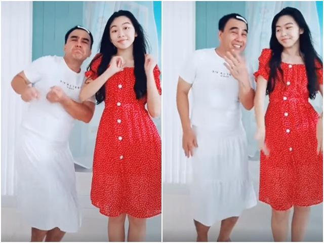 Chiều con như Quyền Linh, chịu mặc váy, kẹp tóc mái nhảy cùng con gái cực xinh-1