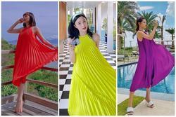Dàn mỹ nhân Việt đồng loạt lăng xê váy cổ yếm xếp li bay bổng khi đi nạp 'vitamin sea'
