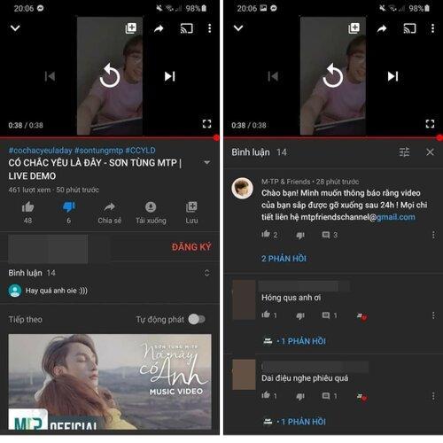 Thực hư công ty Sơn Tùng M-TP đánh bản quyền loạt clip đăng lại bản hát live Có chắc yêu là đây?-2