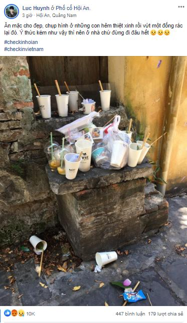 Vỏ ly, chai nhựa vứt bừa bãi tại điểm check-in nổi tiếng Hội An-1