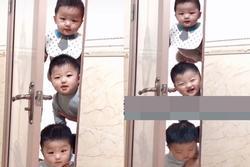 Kiên quyết ngó vào toilet theo dõi mẹ, bức ảnh 3 nhóc tì 3 biểu cảm gây bão MXH
