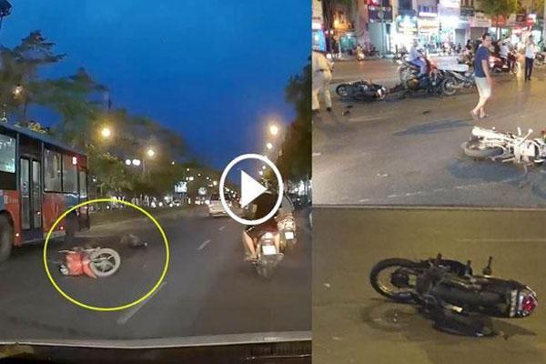 Clip: Kinh hoàng ô tô húc văng 7 xe máy dừng chờ đèn đỏ ở Long Biên-1
