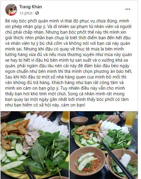 Quán bún đậu bị chê, Trang Trần vẫn mong người review quay lại vì bóc phốt có tâm-3