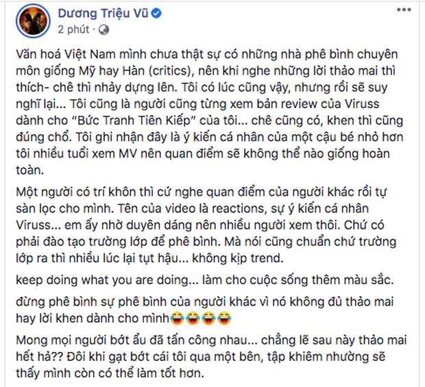 Giữa lùm xùm chỉ trích ViruSs, Dương Triệu Vũ lên tiếng bảo vệ: Đừng phê bình sự phê bình của người khác-1