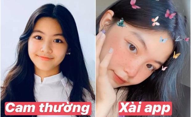Con gái lớn nhà MC Quyền Linh chứng minh: Vẻ đẹp cam thường không hại được, xài app để cho vui-1