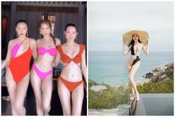 Ngọc Trinh diện bikini đọ dáng bên hội bạn thân Quỳnh Thư: Xinh đẹp chẳng kém ai nhưng body lại gầy lộ cả xương ngực!