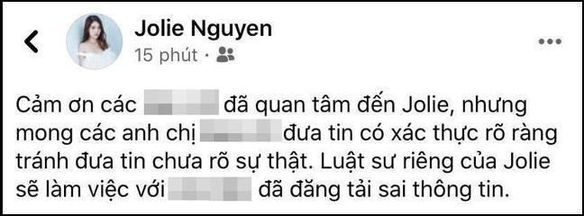 Jolie Nguyễn nhờ pháp luật bảo vệ trước nguồn tin sai sự thật