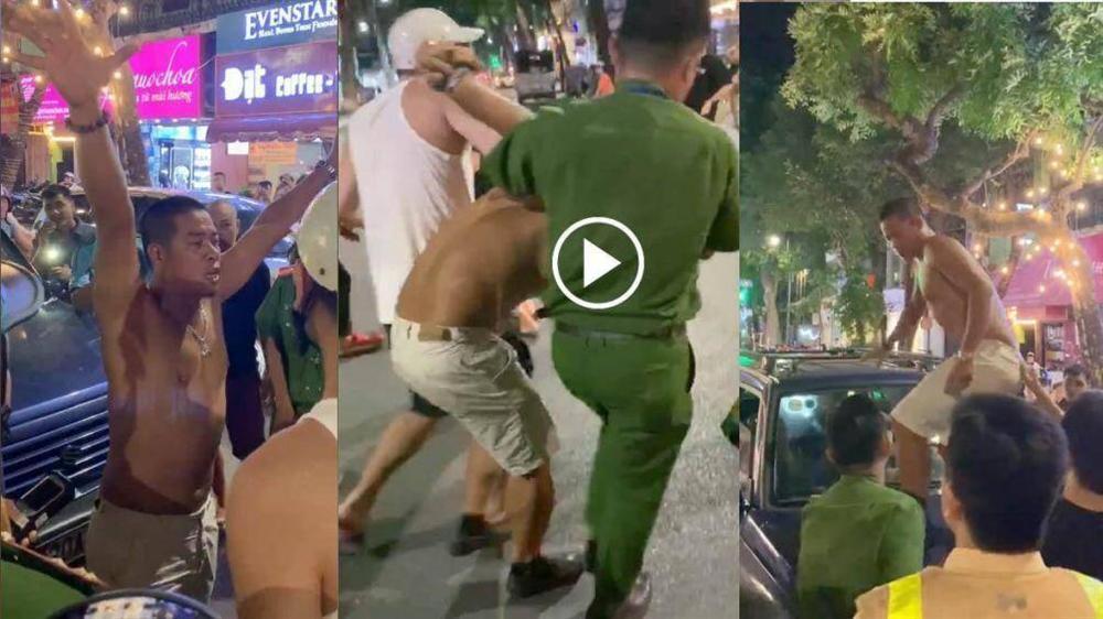 Tài xế say rượu cởi trần, gây tai nạn còn nhảy lên nắp capo chống đối CSGT-1
