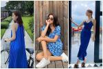 Diện đầm xanh blue cổ điển: Hà Tăng trẻ trung như gái teen - Tóc Tiên khoe dáng đồng hồ cát