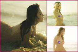 Ngọc Trinh lộ nơi nhạy cảm khi mặc váy lưới không nội y quằn quại trên bãi biển
