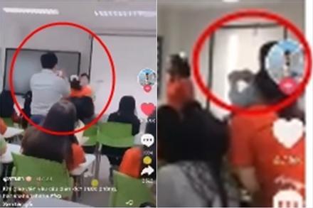 Học trò đánh ghen tại lớp học, thầy giáo đứng ngoài quay chiến tích