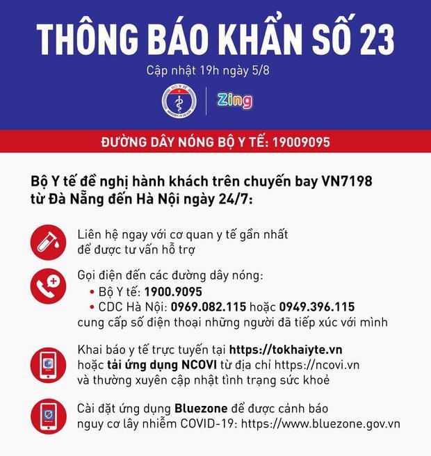 Thông báo khẩn số 23: Bộ Y tế tìm hành khách trên chuyến bay VN7198 từ Đà Nẵng đến Hà Nội ngày 24/7-1