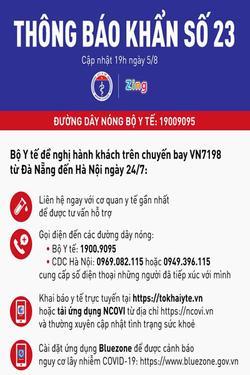 Thông báo khẩn số 23: Bộ Y tế tìm hành khách trên chuyến bay VN7198 từ Đà Nẵng đến Hà Nội ngày 24/7