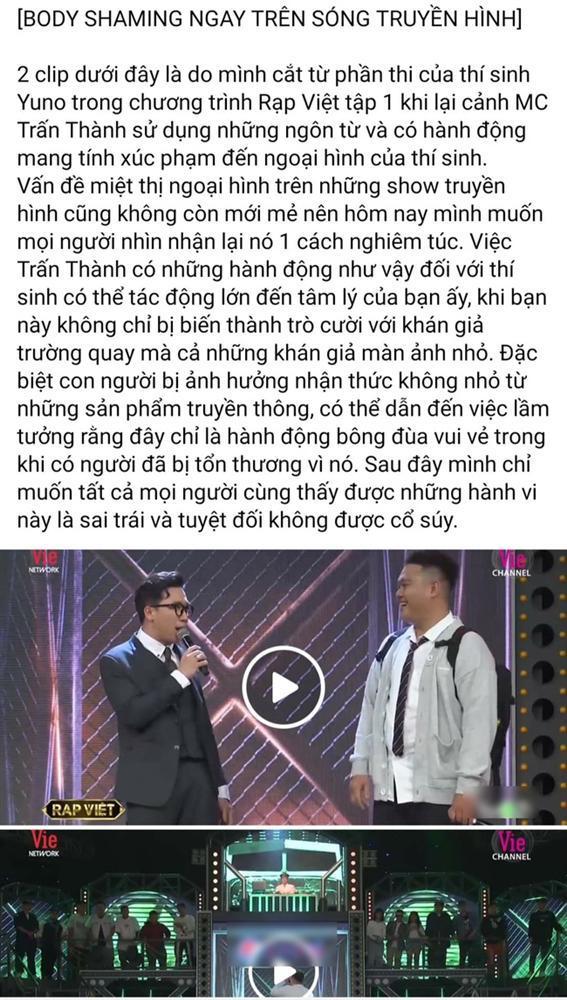 Trấn Thành bị nói miệt thị ngoại hình thí sinh Rap Việt, vô duyên khi mời thức ăn thừa-1