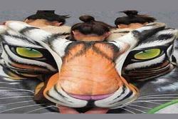 Ấn tượng thị giác: Bạn nhìn thấy mặt con hổ, 1 cô gái hay 3 cô gái?