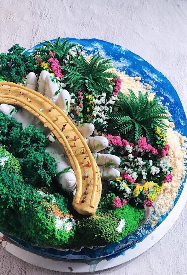 9X tự làm bánh kem đại dương biểu tượng cầu Vàng cổ vũ tinh thần người Đà Nẵng chống dịch-4