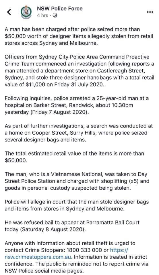 Du học sinh Việt tại Úc bị bắt giữ vì trộm cắp nhiều túi hàng hiệu