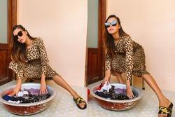 Minh Tú 'nhọc nhằn' giặt đồ tại khu cách ly chỉ vì chân quá dài
