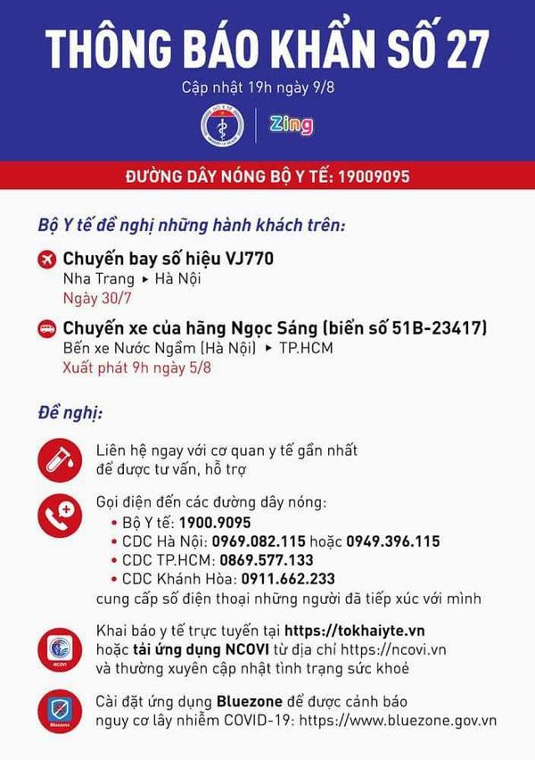 Bộ Y tế phát thông báo khẩn số 27-1