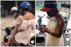 Trend dị Tik Tok: Con trai 'thử làm công chúa 1 ngày' bằng cách mặc váy lượn xe máy ra đường