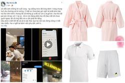 Bộ thể thao chồng Âu Hà My, áo choàng hồng 'Tuesday' thành trang phục bị 'lêu lêu'