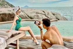 Trên đời luôn có một người như chồng Tâm Tít, gắng sức chụp ảnh cho vợ đến trẹo cả xương sống