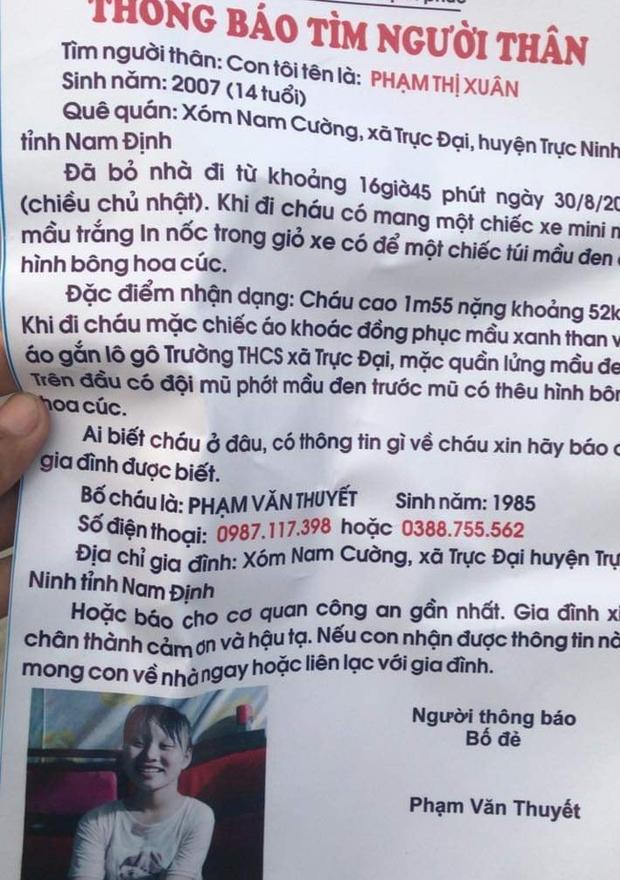 Con gái 14 tuổi mất tích bí ẩn ở Nam Định, bố cầu cứu cộng đồng mạng giúp đỡ-1