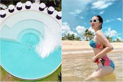 Bảo Thy hóa nàng tiên cá giữa hồ bơi hình tròn khổng lồ ở Phú Quốc