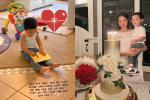 Quý tử 1 tuổi làm thiệp mừng sinh nhật Phạm Hương, rất dễ thương dù không ra hình thù