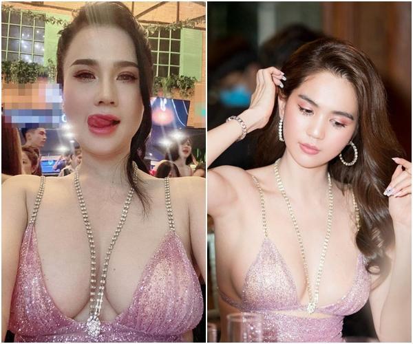Ngọc Trinh bị chính chị gái dìm hàng khi mặc cùng 1 bộ váy cắt khoét táo bạo-10