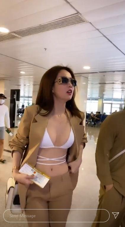 Ngọc Trinh diện hẳn bikini khoe chân ngực ra sân bay-2