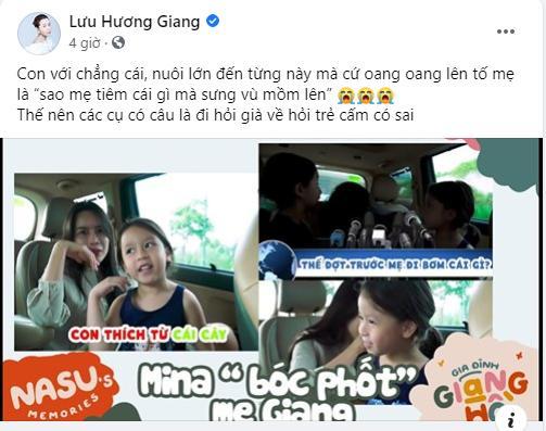 Con gái Lưu Hương Giang hồn nhiên khoe: Trên mặt mẹ có mồm giả và mũi giả-2