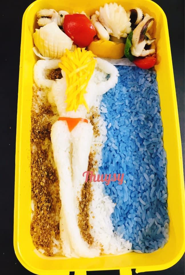 Vợ đảm trêu vui chồng bằng hộp cơm trưa minh họa mẫu chân dài, cưng thế này sao nỡ thèm phở-7