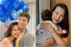MC Hoàng Oanh đưa con trai mới sinh sang Singapore đoàn tụ ông xã