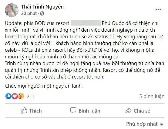 Thái Trinh được resort 5 sao Phú Quốc xin lỗi sau sự cố ngộ độc-2