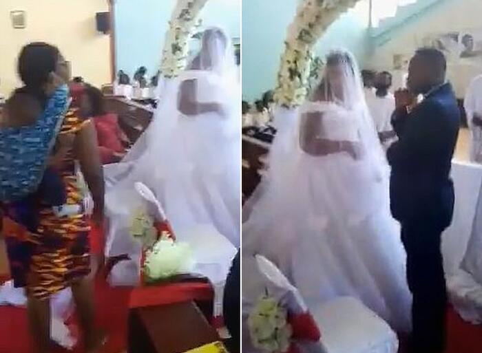 Đang làm đám cưới, chú rể hết hồn khi có người mang con đến nhận chồng, nhận cha-1