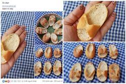 Đỉnh cao của sự rảnh rỗi, cô gái làm một bộ sưu tập dép em bé từ bánh mì