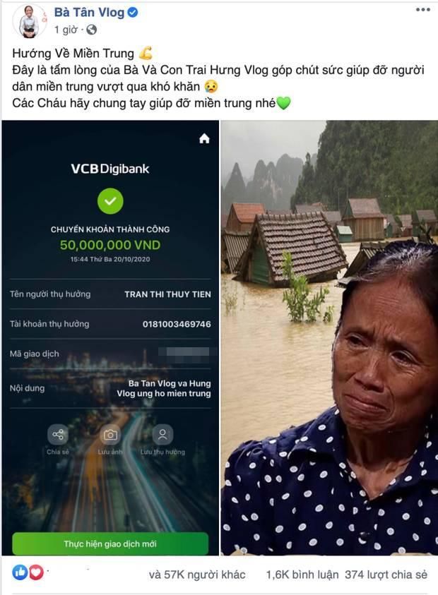 Gửi 50 triệu ủng hộ miền Trung, mẹ con bà Tân Vlog vẫn bị cạnh khóe-3