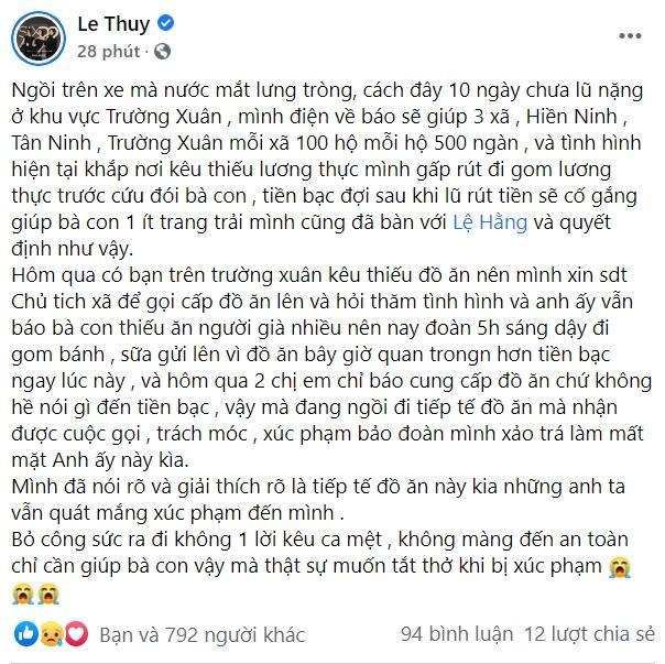 Đoàn cứu trợ của người mẫu Lê Thúy bị nhận xét từ thiện xảo trá-3