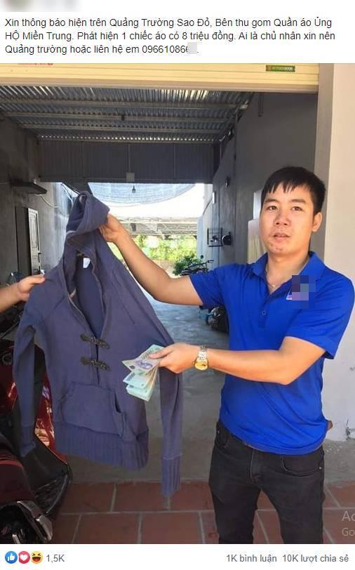 Thanh niên Hải Dương phát hiện 8 triệu trong chiếc áo cũ ủng hộ đồng bào miền Trung-1