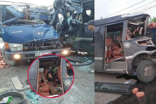 Kinh hoàng: Xe khách đấu đầu xe tải, 1 tài xế tử vong ở Đồng Nai-4