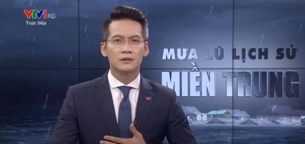 BTV VTV nén khóc trên sóng trực tiếp khi dẫn bản tin bão lũ miền Trung là ai?-1