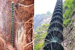 Cầu thang xoắn ốc bên vách núi ở Trung Quốc